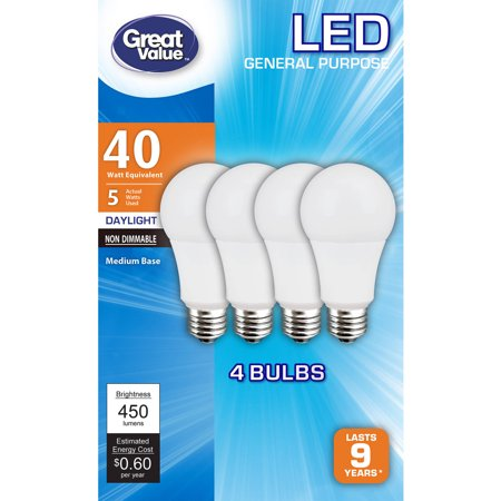 Great Value LED Light Bulb, 5W (40W Equivalent) A19 Lamp E26 Medium Base, Non-Dimmable, Daylight, 4-Pack