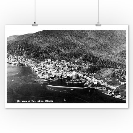 Alaska Aerial Photo - Ketchikan, Alaska - Aerial View of Town Photograph (9x12 Art Print, Wall Decor Travel Poster)