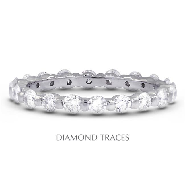 Diamond Traces UD-EWB102-6884 18K White Gold Bar Setting, 1.34 Carat Total Natural Diamonds, Classic Eternity Ring - image 1 of 1