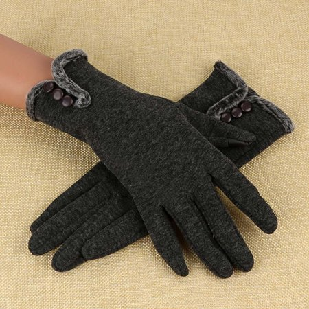 Outtop Women Cashmere Keep Warm Driving Full Finger Gloves Touch Screen Glove