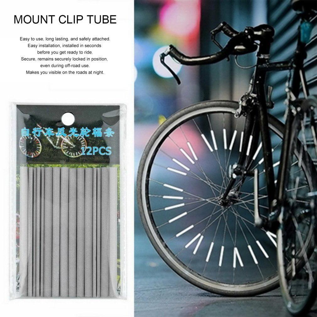 White Bicycle Bike Wheel Safety Spoke Reflector Mount Clip Warning Lamp Set/&