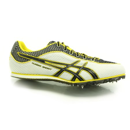 Mens Field Spikes - Asics  G003N 0190 Mens Turbo Ghost 3 Track Spikes White/ Black/ Yellow