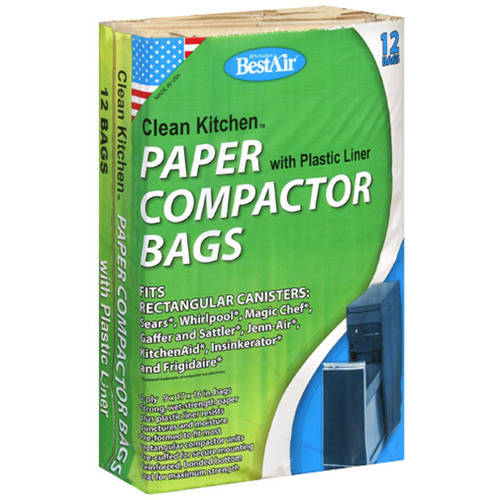 Bestair Clean Kitchen Paper Compactor Bag with Plastic Liners, 12 count