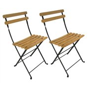 Park Folding Side Chair w Clear Painted European Chestnut Wood Slats - Set of 2