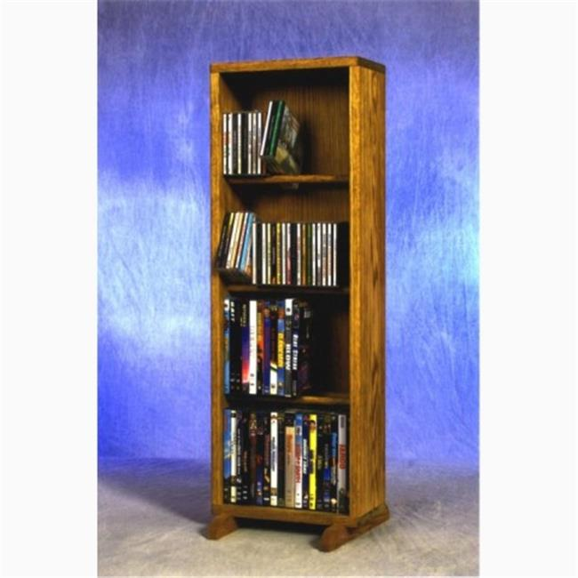 Wood Shed 415-12 Combo Solid Oak 4 Row Dowel CD-DVD Cabinet Tower