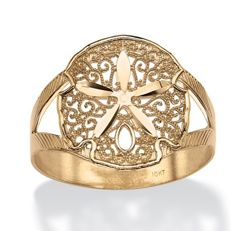 Filigree Sand Dollar Double-Shank Ring in 10k Yellow Gold