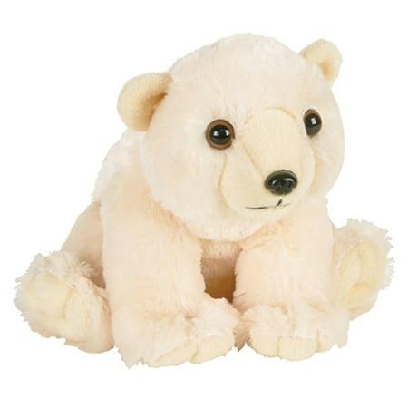 Adventure Planet Plush Animal Den - POLAR BEAR (8 inch) Wooden Polar Bear