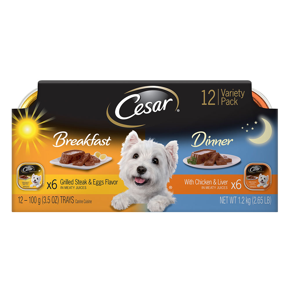 CESAR SUNRISE Breakfast and Dinner Mealtime Variety Pack Dog Food Trays 3.5 oz. (12 Count)