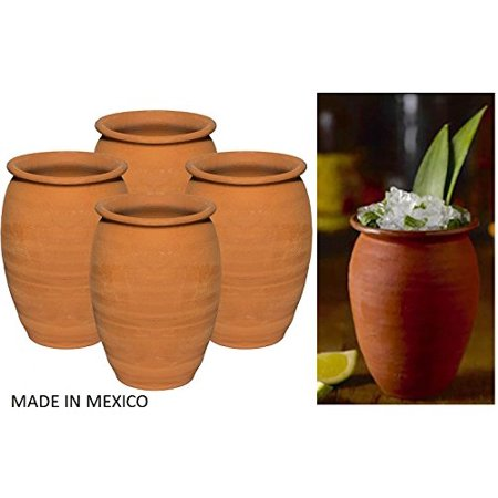 Made in Mexico Authentic Mexican Cantaritos Jarritos de Barro for Hot or Cold Beverages Drinks Natural Clay Mugs Cups, Set of - Clay Art Ceramic Mug