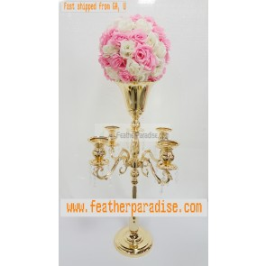 30 inches Gold 5 Arms Candelabra/ Floral Riser/Wedding Centerpieces/Flower Ball Stand