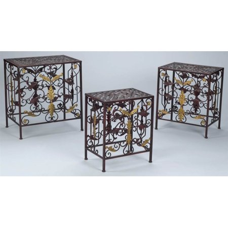metal plant stand in antique red finish set of 3. Black Bedroom Furniture Sets. Home Design Ideas