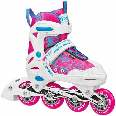 Roll Line Skate Plates - Ion 7.2 Girls' Adjustable Inline Skates, Pink/Baby Blue