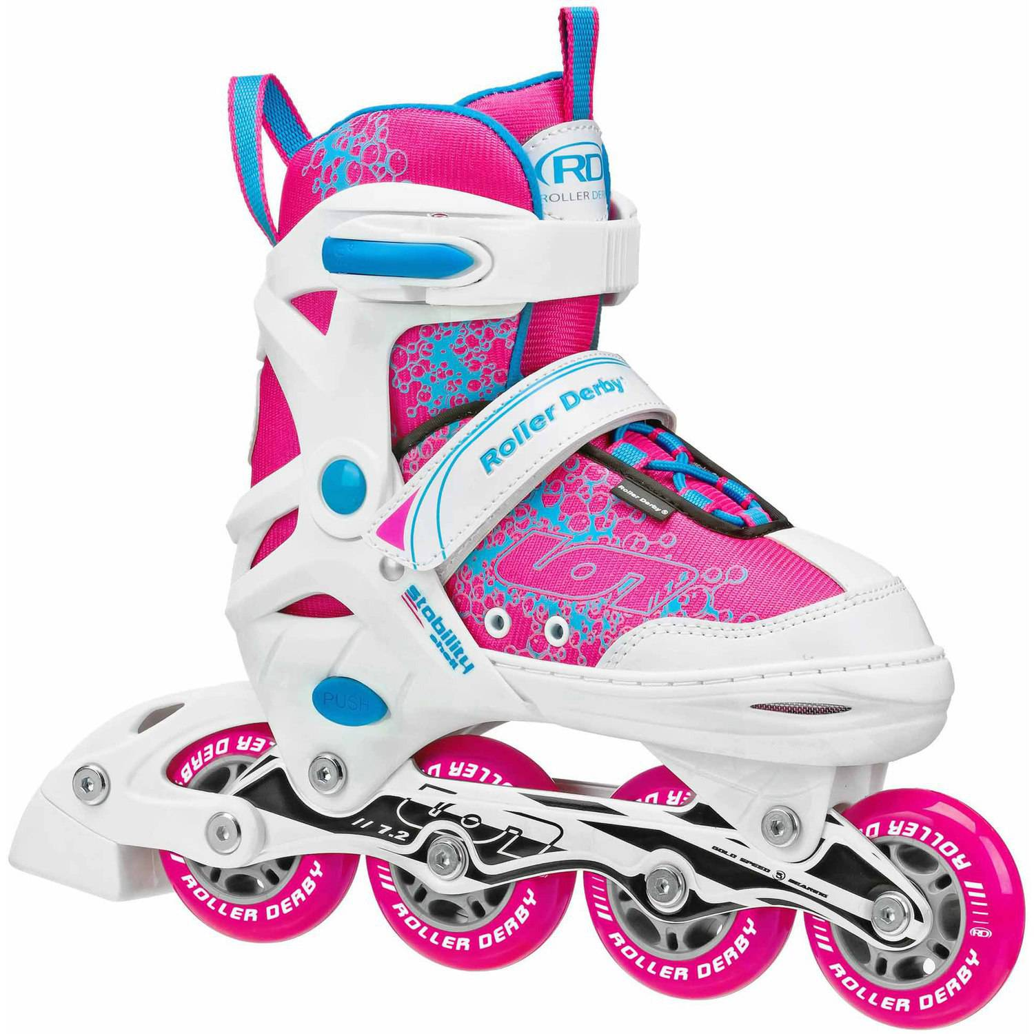 Ion 7.2 Girls' Adjustable Inline Skates, Pink/Baby Blue