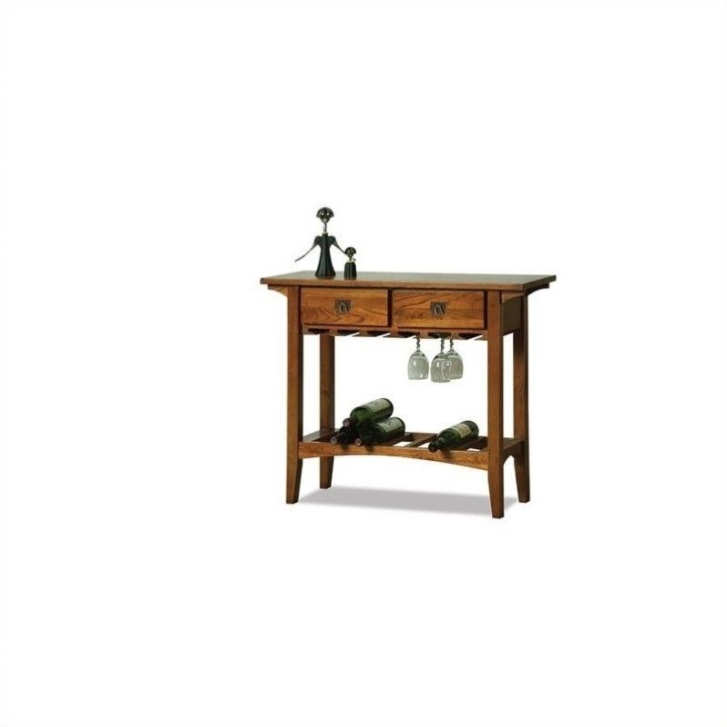 Leick Furniture Mission Wine Table with Storage Drawers in Russet - image 1 de 1