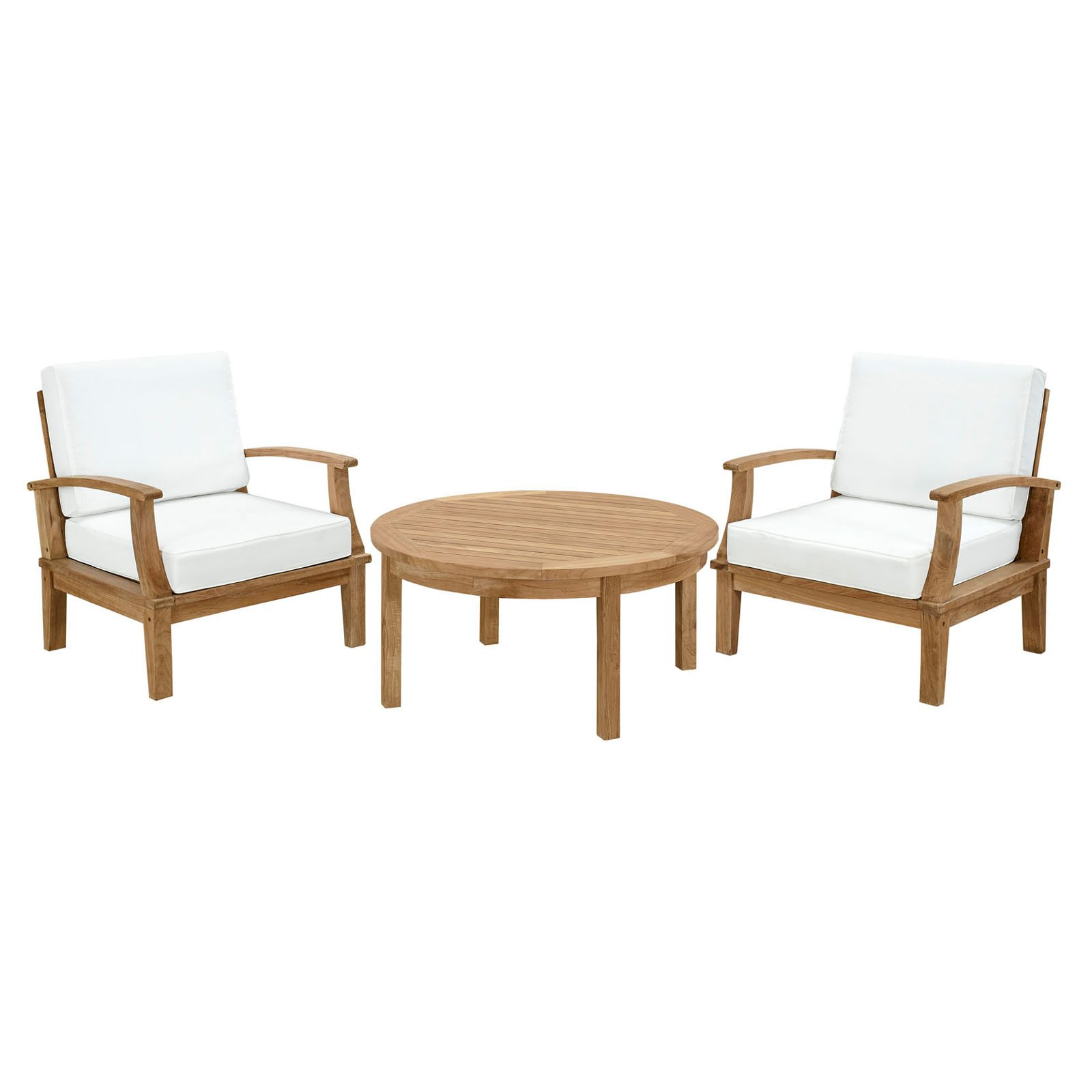 Modway Marina 3 Piece Outdoor Patio Teak Sofa Set in Natural White
