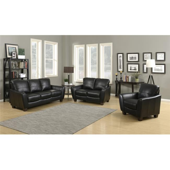 AC Pacific SAWYER-BLACK-3PC-SET Sawyer Contemporary Sofa, Loveseat & Chair 3 Piece Stationary Set by AC Pacific