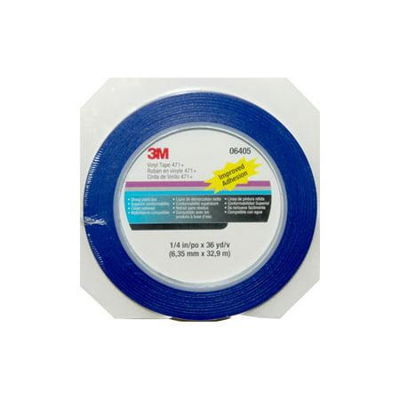 Blue Plastic Tape - 3M Vinyl Tape 471+ for Masking, Sealing & Wrapping, 1/4