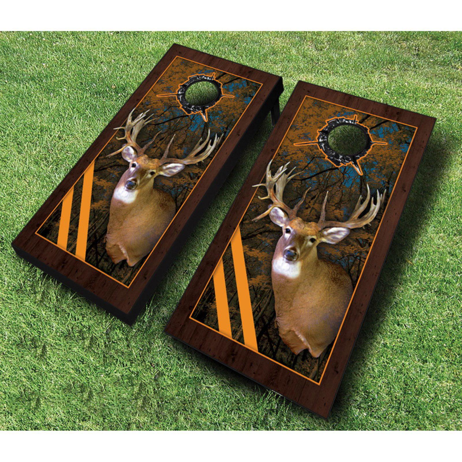 AJJ Cornhole Framed Deer Cornhole Set with Bags by