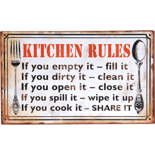 Wilco Home 'Kitchen Rules...' Textual Art Plaque