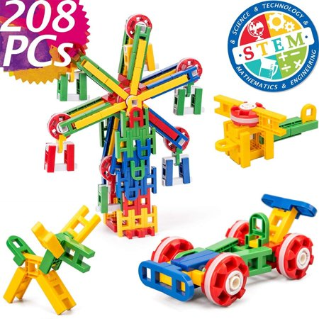 cossy STEM Learning Toy Engineering Construction Building Blocks 208 Pieces Kids Educational Toy for Boys and Girls Ages 3 4 5 6 7 8 9 Year Old (208 Pcs)](Best Educational Toys For 4 Year Olds)