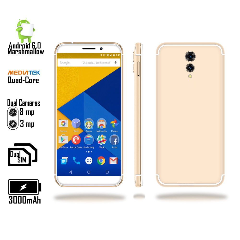 Unlocked 4G LTE Android 6 Marshmallow 5.6-inch SmartPhone by Indig (QuadCore 1.3GHz + 1GB RAM + Fingerprint Unlock) Gold