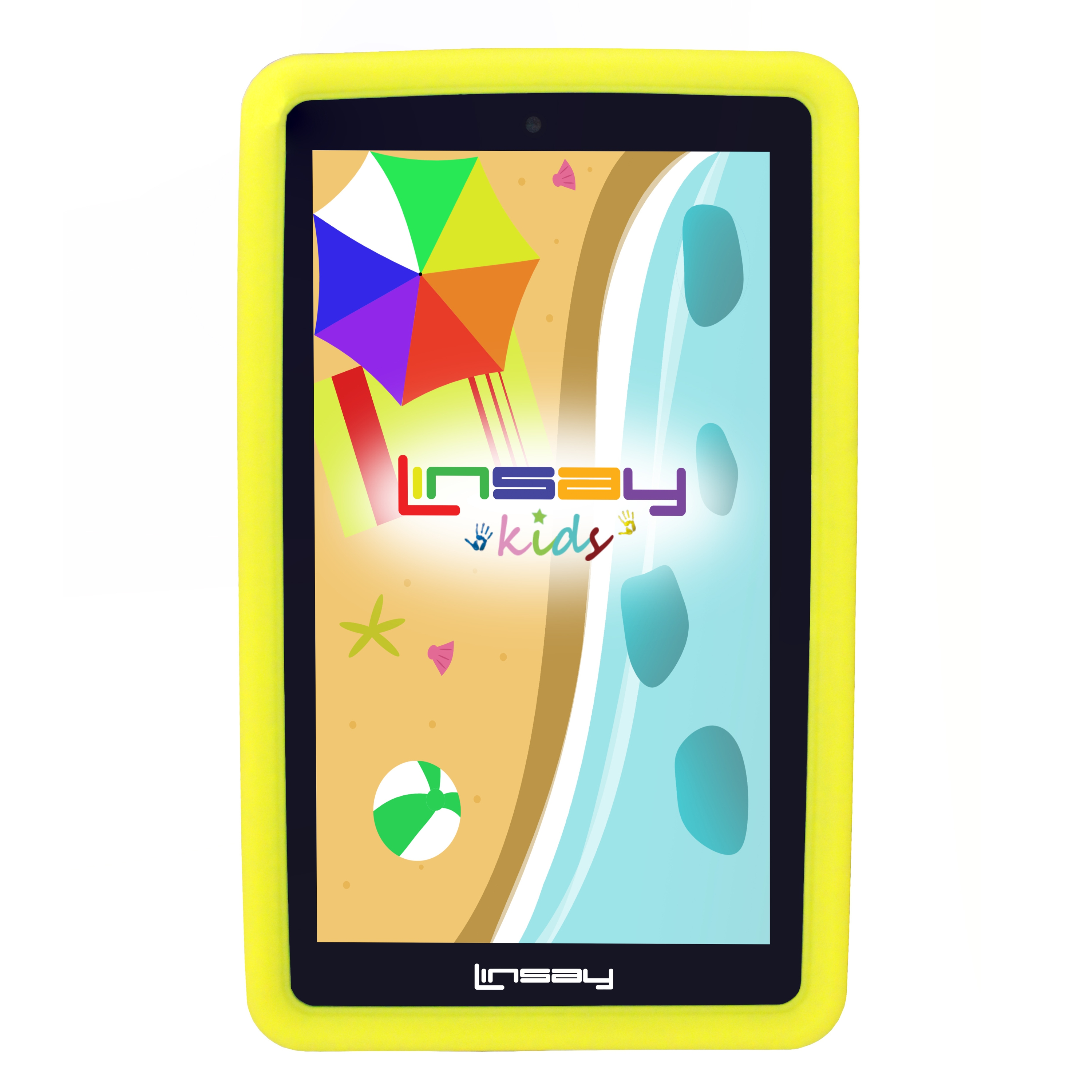 "LINSAY Kids Funny Tab 7"" 1280x800 IPS Touchscreen Tablet PC Featuring Android 4.4.2 (KitKat) Operating System Bundle with Yellow Kids Defender Case"