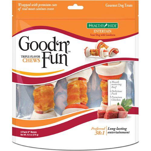 """Healthy Hide Good 'N' Fun 6"""" Triple Flavor Bones, 3-Pack"""