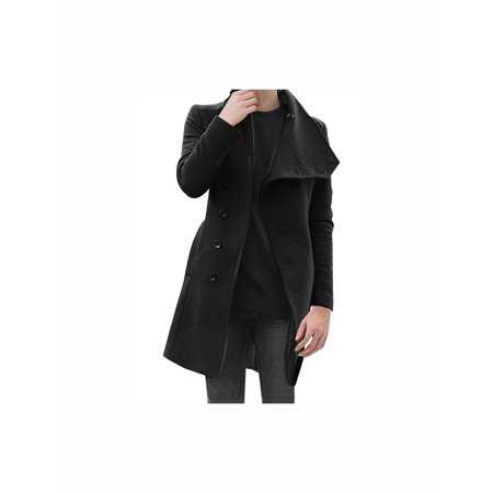 Coat Black Short Sleeve Buttons - Mens Fashion Button Closure Buttons Decor Sleeve Casual Trench Coat Black M