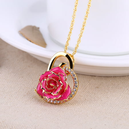 24K Gold Plated Dipped Real Rose Pendant  Rhinestone Heart Shaped Rose Pendant Necklace (Rose Gold Settings)