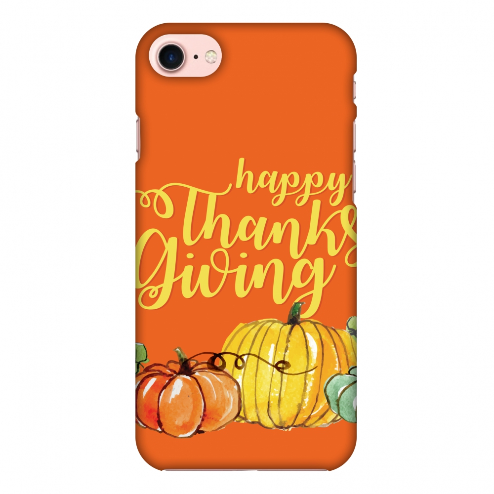 iPhone 8 Case - Pumpkin Pattern, Hard Plastic Back Cover. Slim Profile Cute Printed Designer Snap on Case with Screen Cleaning Kit