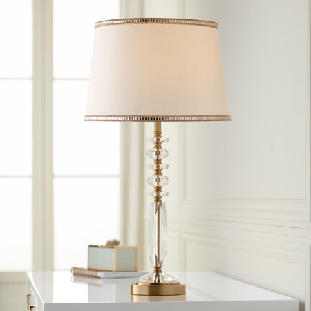 Vienna Full Spectrum Modern Table Lamp Gold Metal Clear Crystal Glass Fabric Shade with Gold Trim for Bedroom Bedside