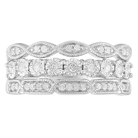 1/4 cttw Diamond 3 Layer Band Ring, Sterling Silver](3 Birthstone Ring)