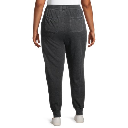Terra & Sky Plus Size Raw Edge Seam Joggers