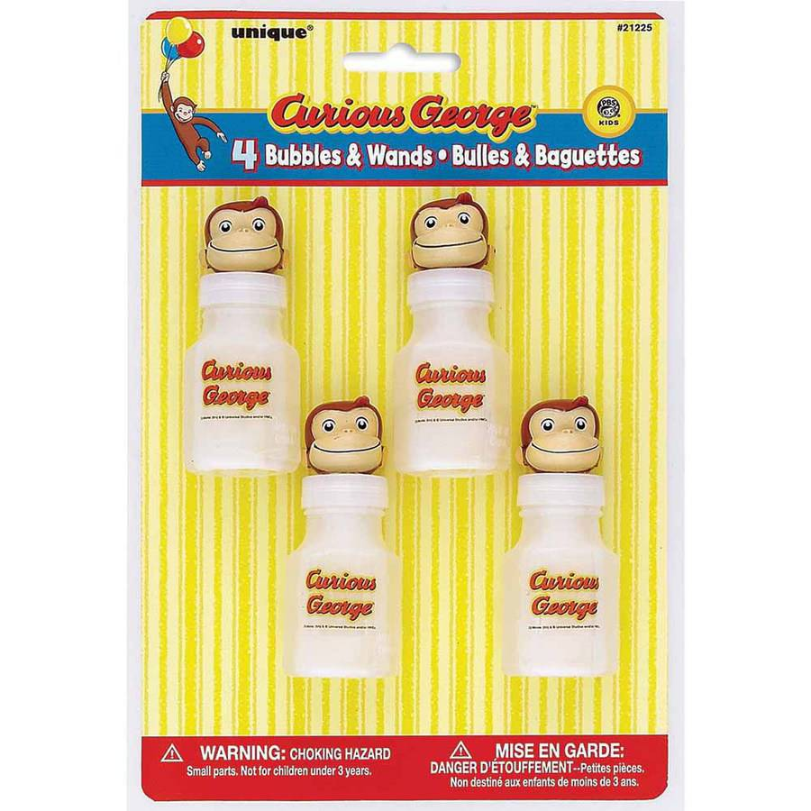 Curious George Bubbles Party Favors, 4ct
