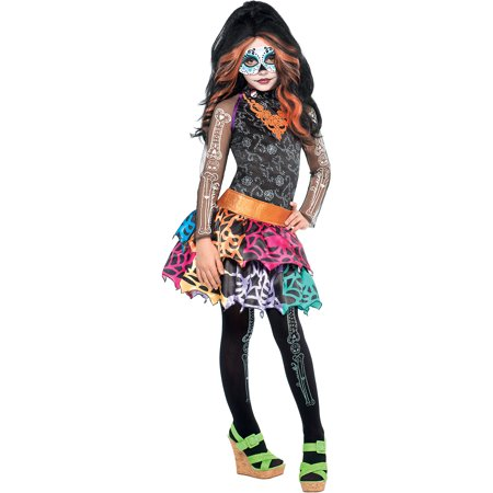Skelita Calaveras Costumes (Monster High Skelita Calaveras Halloween Costume Deluxe for Girls, Extra Large, with Included Accessories , by)