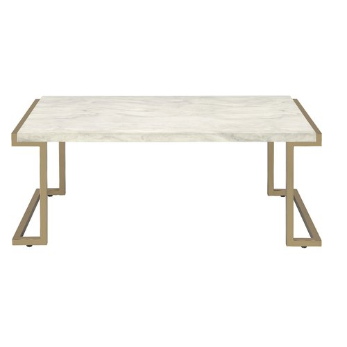ACME Boice II Coffee Table, Faux Marble and Champagne by Acme Furniture