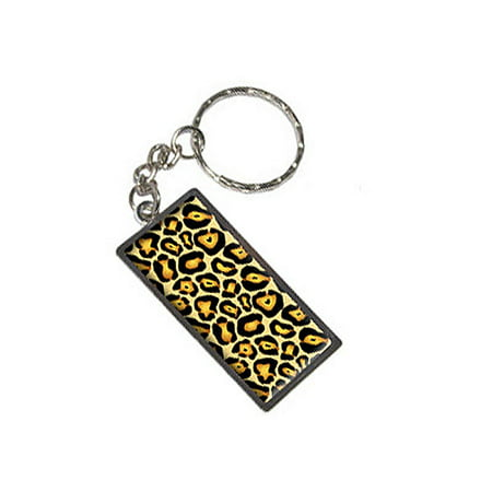 (Jaguar Print Metal Rectangle Keychain)