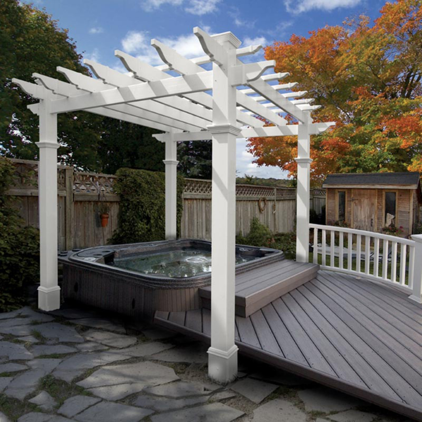 New England Liberty 6.5 x 6.5-ft. Vinyl Pergola