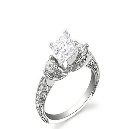 Perfect Antique Affordable Engagement Ring 0.50 Carat Princess Cut Diamond on (Best Affordable Engagement Rings)