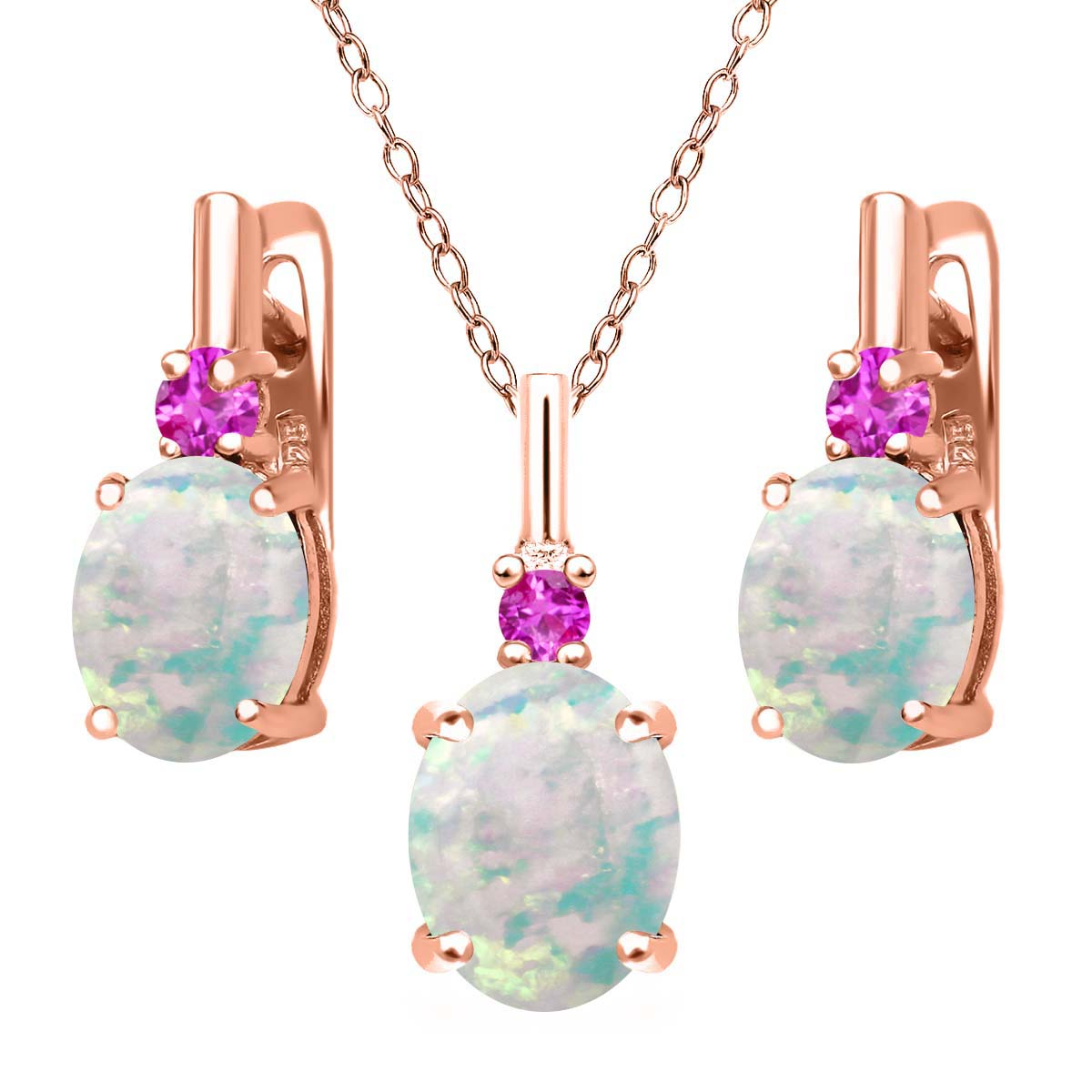 4.88 Ct Simulated Opal and Pink Sapphire 18K Rose Gold Plated Silver Jewelry Set by