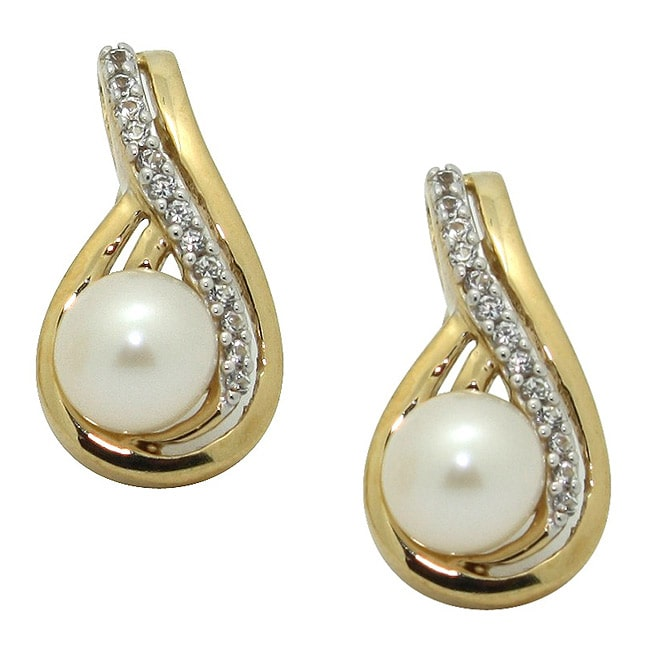 DIAMANTE GROUP Gioelli Gold over Silver FW Pearl and Created White Sapphire Earrings (6 mm)
