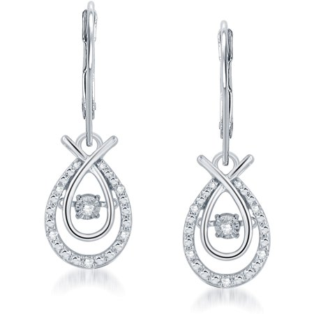 1/5 Carat T.W Dancing Diamond Sterling Silver Drop Earrings