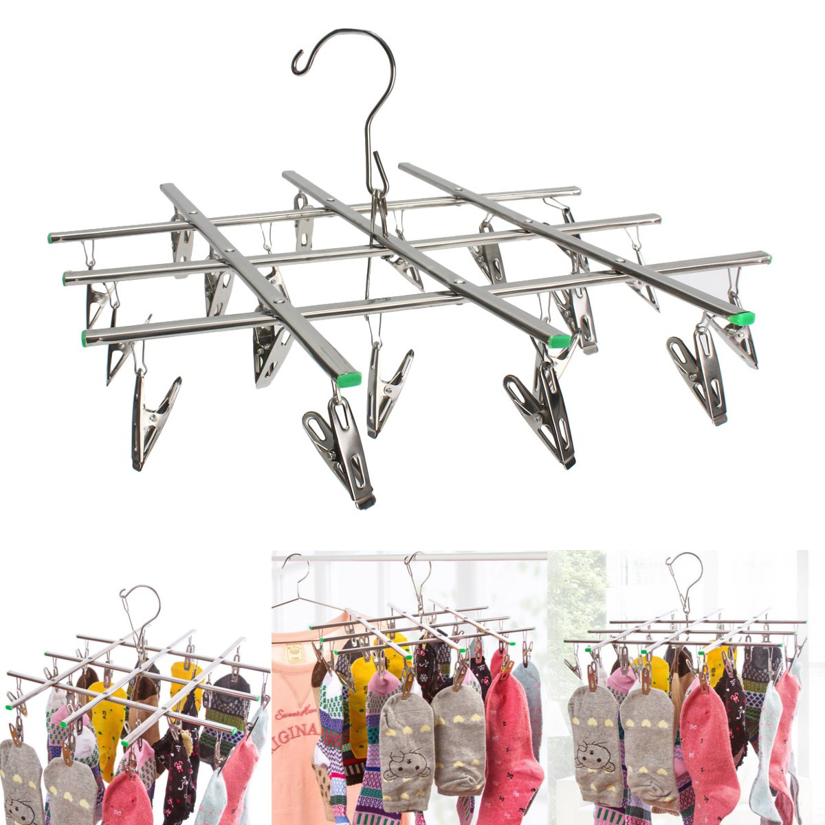 Underwear Socks Tie Laundry Hanger Hook Drying With 16 Pegs Stainless Steel