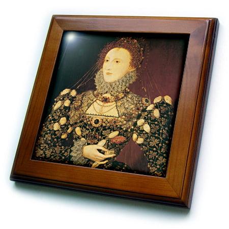 Personalized Framed Tile - 3dRose Queen Elizabeth I by Nicholas Hilliard - Framed Tile, 6 by 6-inch