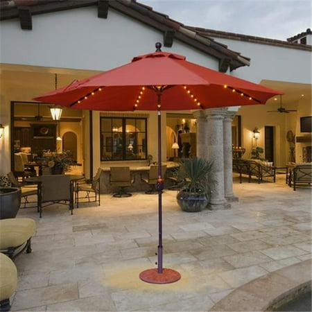 - Galtech 9 ft. Antique Bronze Auto Tilt with LED Lights Umbrella - Air Blue Sunbrella