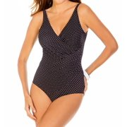 Miraclesuit 362688 Pin Point Spellbound Side Wrap One Piece Swimsuit