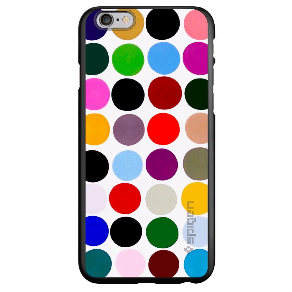"CUSTOM Black Spigen Thin Fit Case for Apple iPhone 7 PLUS / 8 PLUS (5.5"" Screen) - Rainbow Polka Dots"
