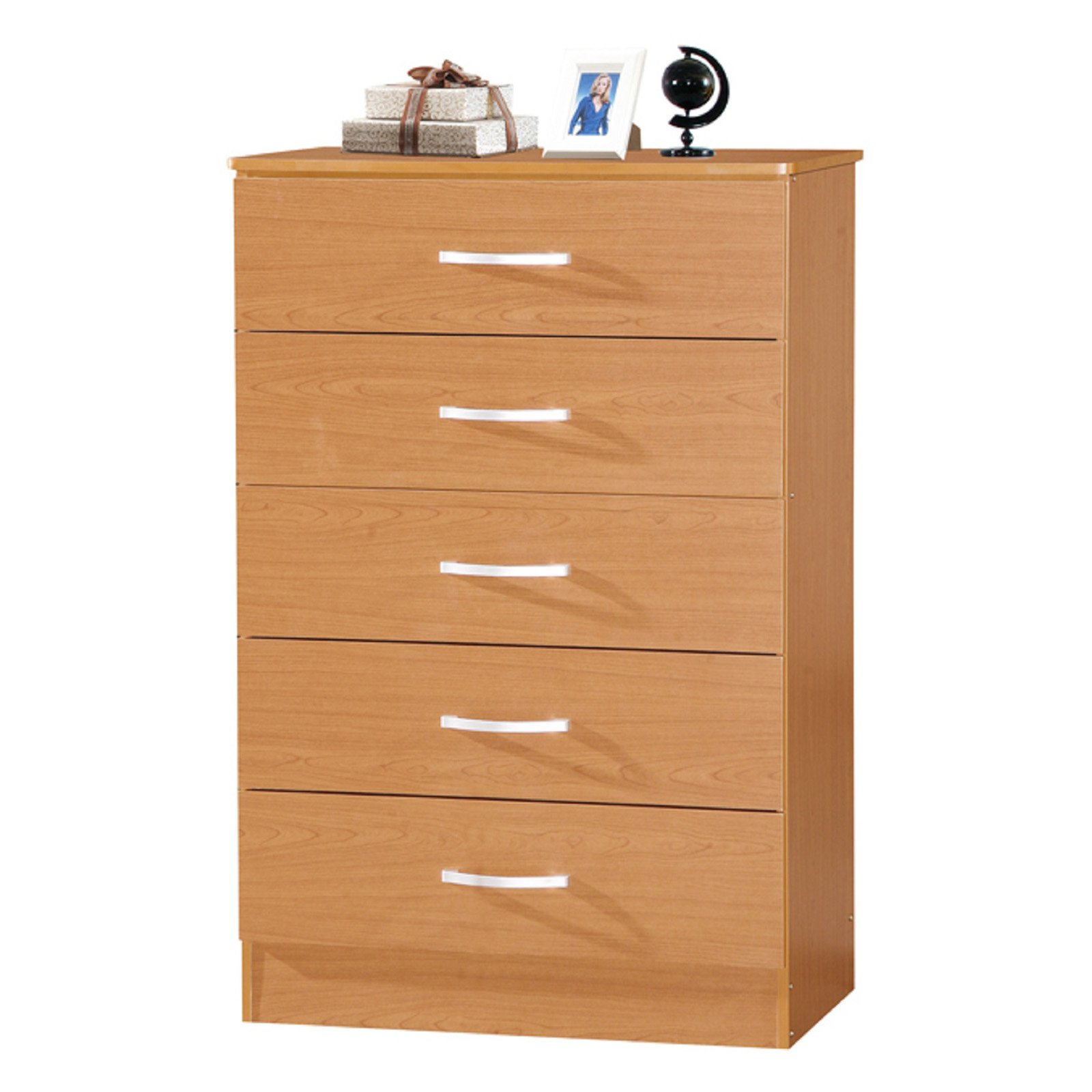 Hodedah Imports Wooden 5 Drawer Chest