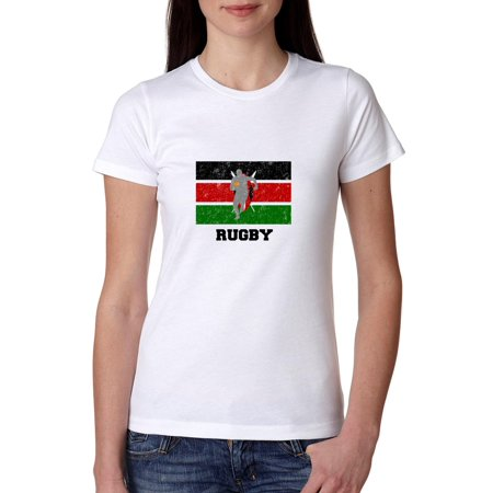 Ladies Home Rugby Shirt (Kenya Olympic - Rugby - Flag - Silhouette Women's Cotton T-Shirt )