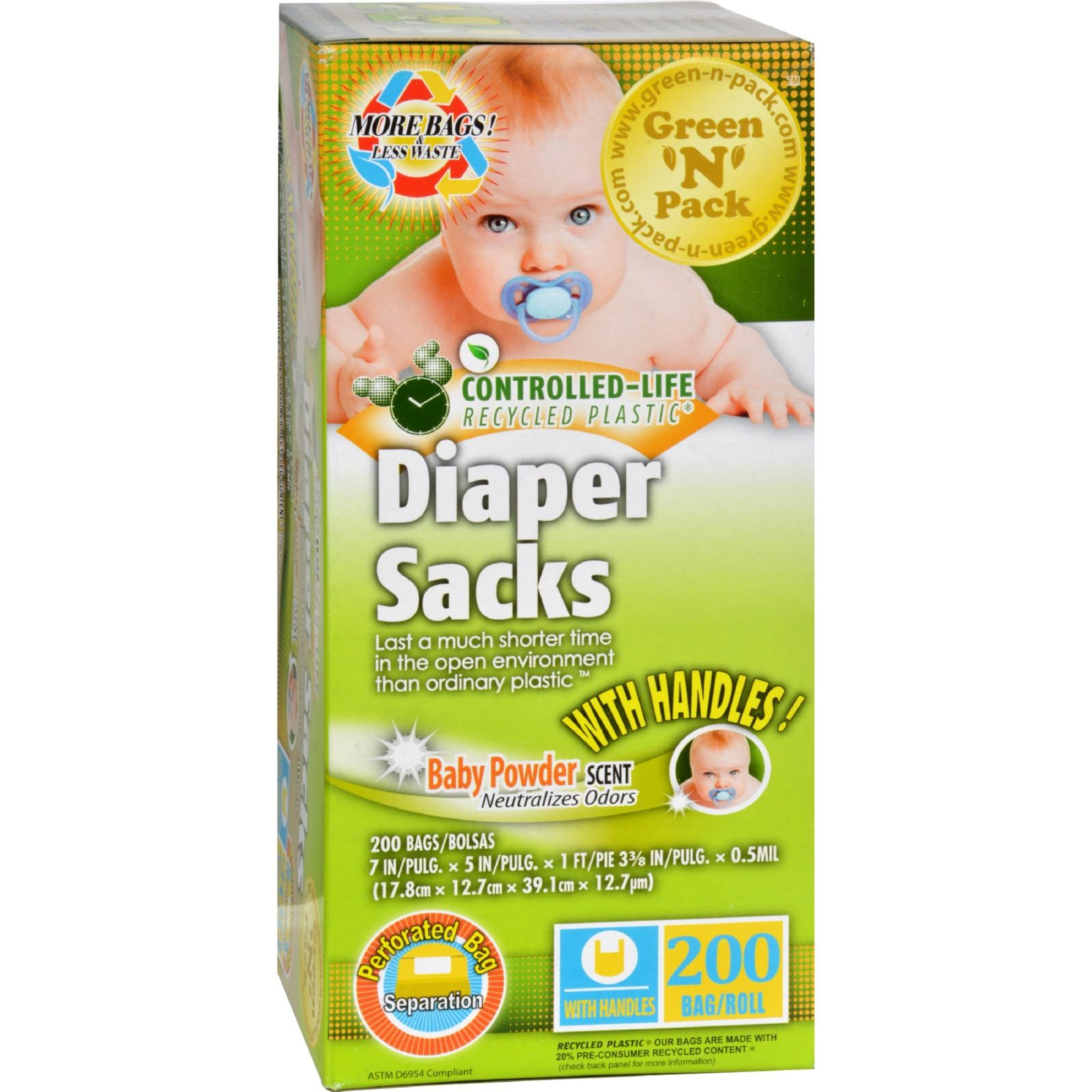 Green-N-Pack Disposable Diaper Bags - Scented - 200 Count